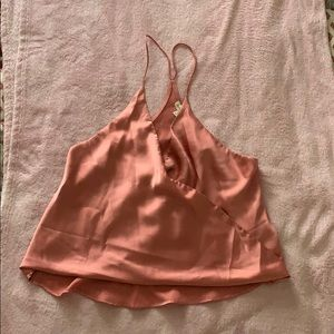 Satin rose pink surplice cami